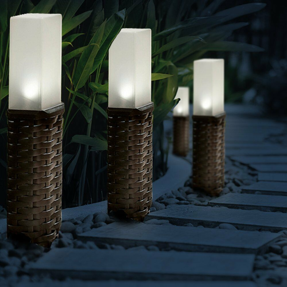 Outdoor Patio Ground Lights: Rattan Style Solar Powered Motion Ground Post Path Stake