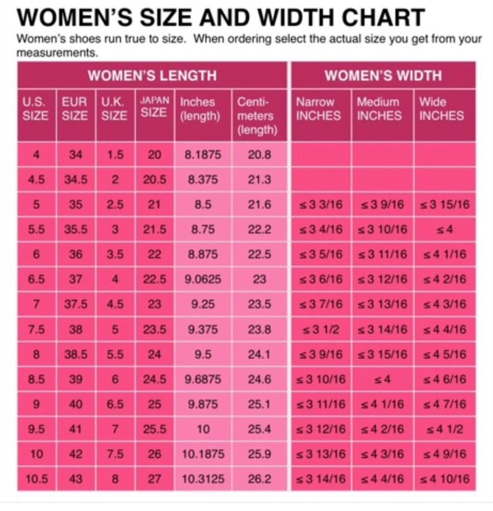 European Women S Shoe Conversion Chart