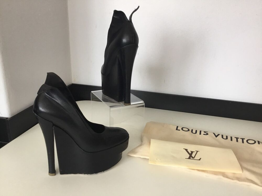 eab47c1559ac Details about Louis Vuitton BLack Leather Shoes Platform Heels Size 36 Uk 3  Dust Bag