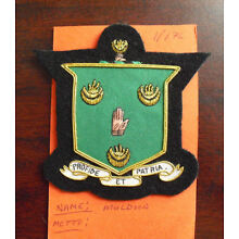 Embroidered Patch Family Crest Coat of Arms Muldoon with Moto LOOK