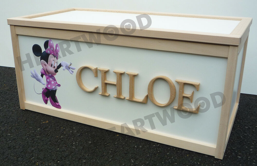 Large New Wooden Storage Box Diy Crates Toy Boxes Set: TOY BOX WOODEN/CHILDREN/BOYS/GIRLS/MINNIE MOUSE DECAL & 6