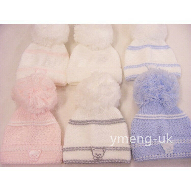 87eacc9aff5 Stunning Kinder Baby Big Pom Hat with Teddy Motif Bubble Hat First Size