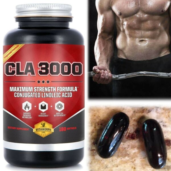 CLA SAFFLOWER OIL Dietary Body Fat Weight Loss Daily Supplement 3000 Mg Softgels