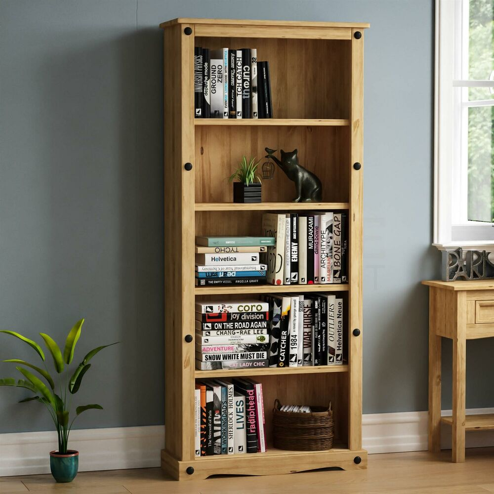Corona Tall Bookcase Unit Mexican Solid Pine Wood Waxed