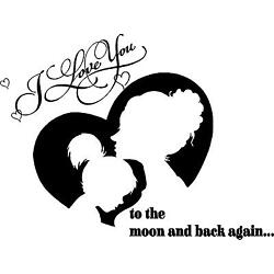 Love you to the  moon and back with mom and daughter silohette vinyl wall  decal
