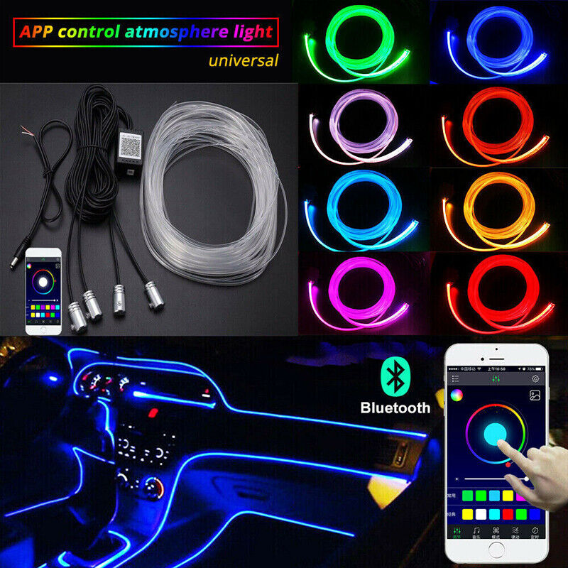 Rgb led car interior neon el strip light sound active bluetooth phone control ebay for Led car interior lights ebay