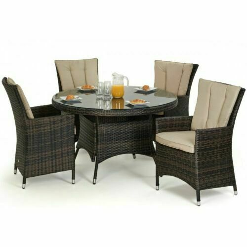 atlanta baby rattan garden furniture 4 seater brown round dining rh ebay co uk