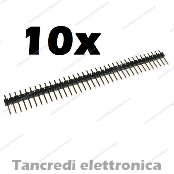 10 Connettore strip line 40 poli maschio L 6mm passo 2,54mm divisibile