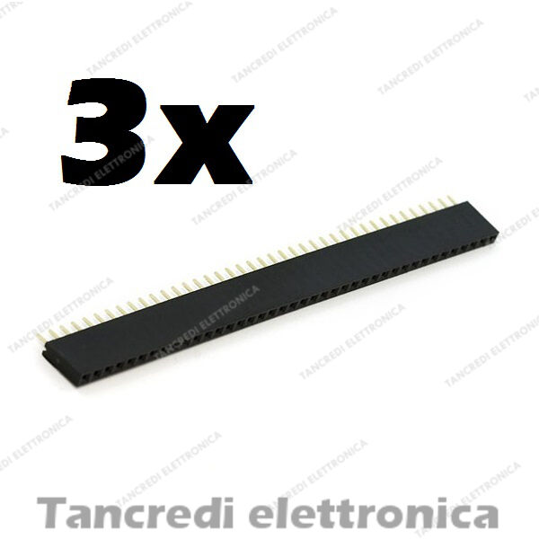 3x Connettori strip line 40 pin poli Femmina Stripline 2.54mm circuito stampato
