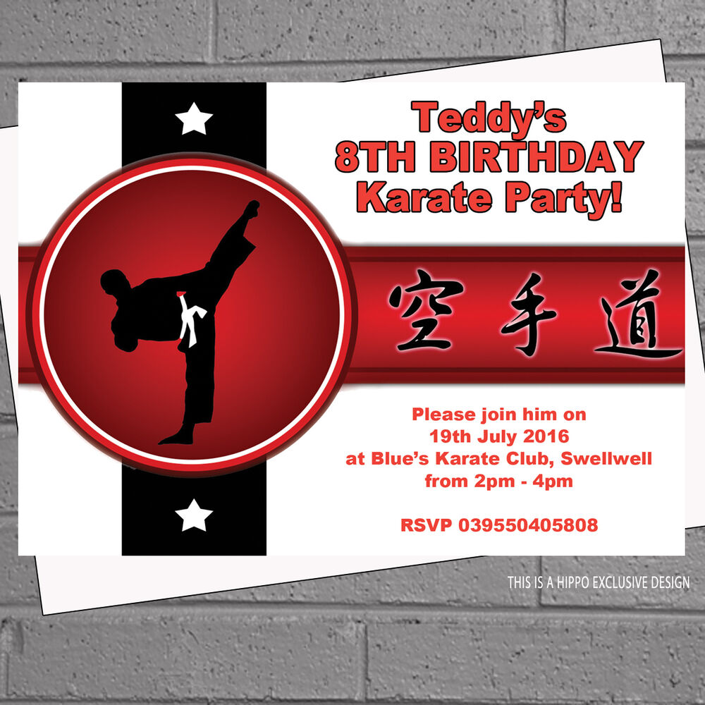 Details About Boys Karate Martial Arts Kids Birthday Party Personalised Invitations X 12 H0536