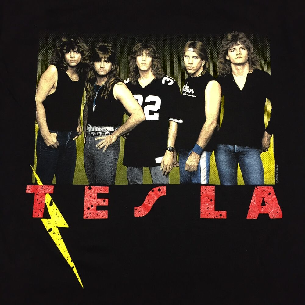 Vintage Tesla 1988 Great Radio Controversy Concert T Shirt