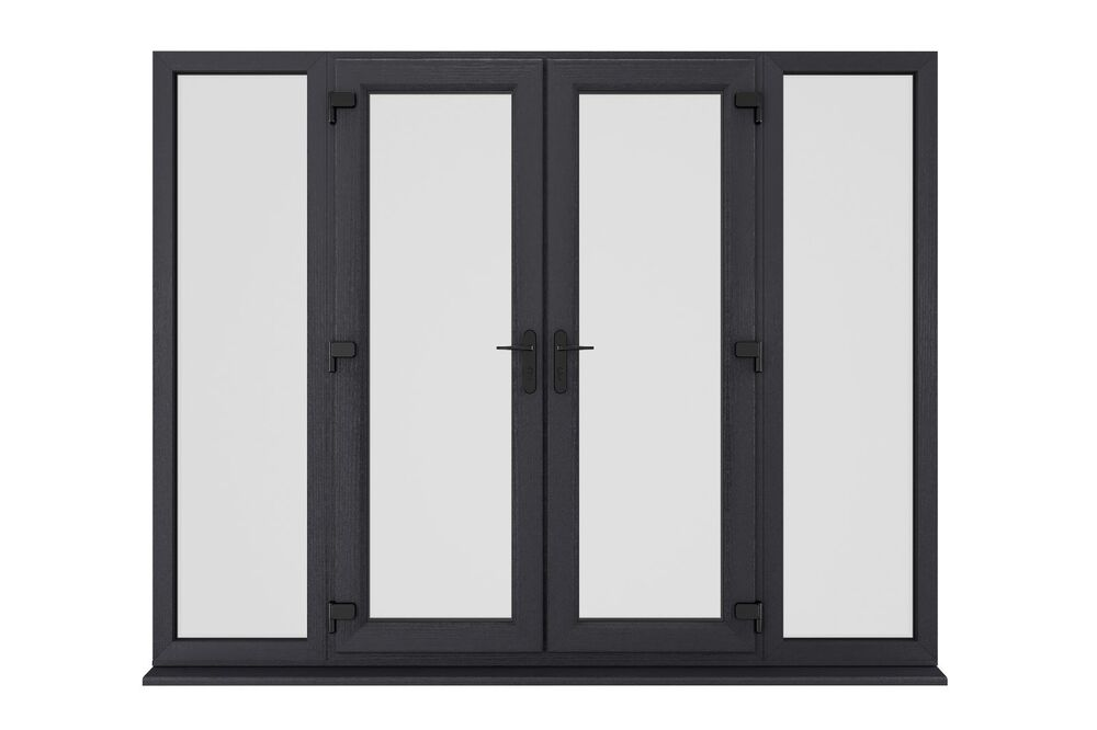 New anthracite ral 7016 grey upvc french patio doors for Upvc french doors grey