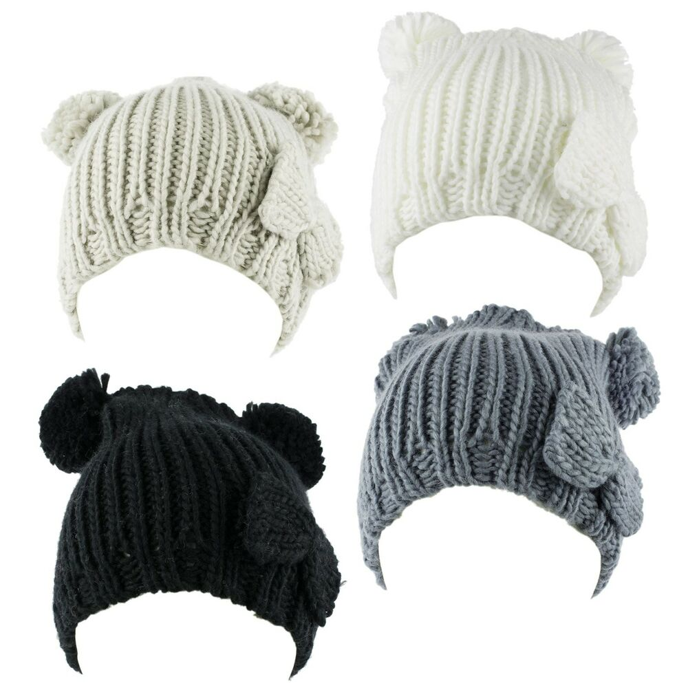 8b647bcc804dc Details about Knitted Beanie Hat with Two Pom Poms and Bow