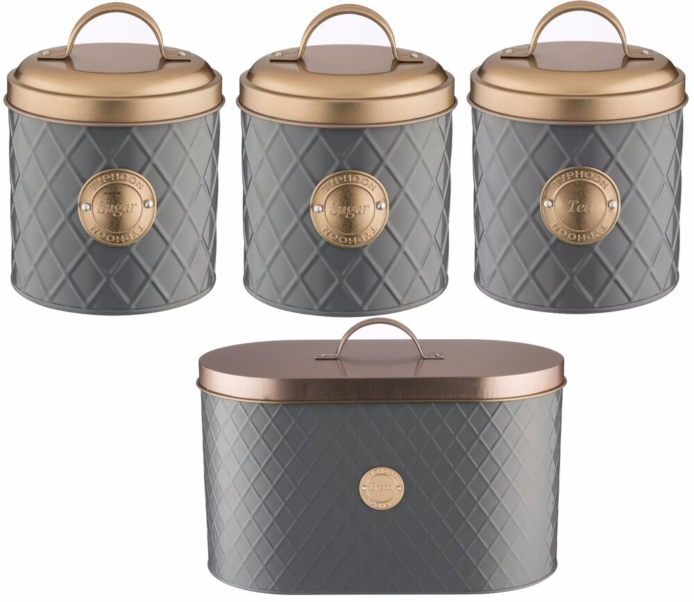 Typhoon Copper Lid Tea Coffee Sugar Set Canister Bread Bin