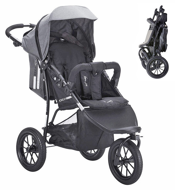 knorr baby sportwagen buggy kinderwagen joggy active exklusiv in schwarz grau ebay. Black Bedroom Furniture Sets. Home Design Ideas