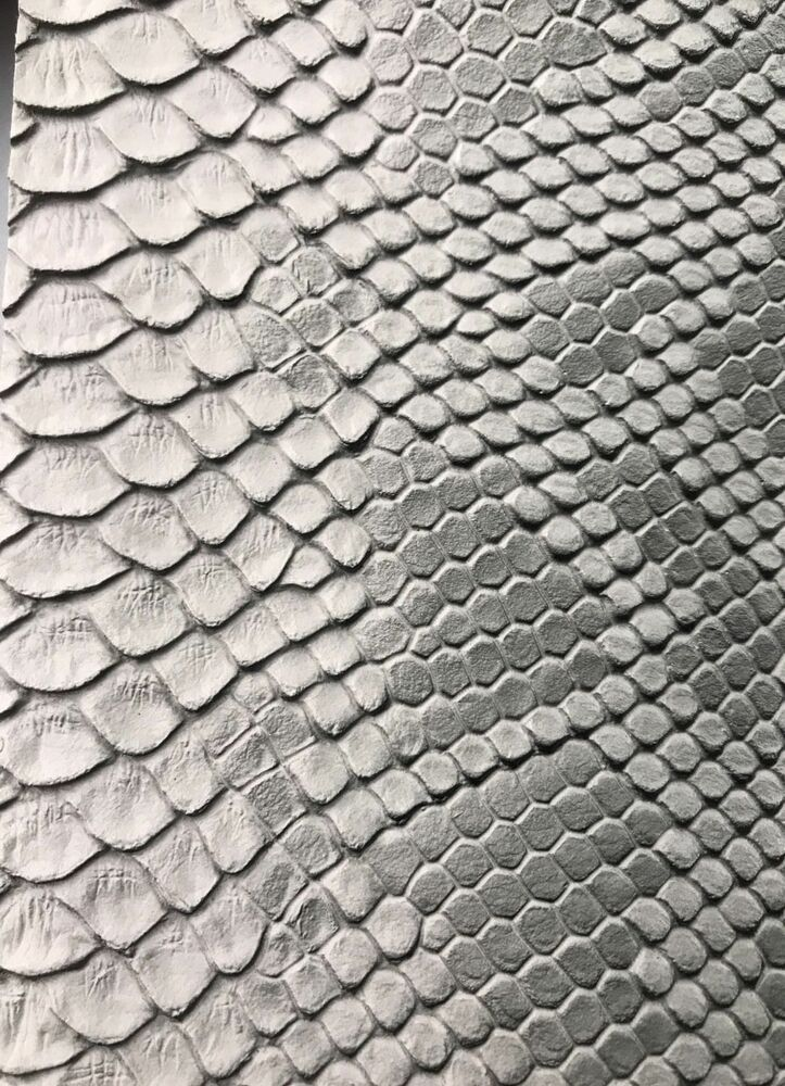 Vinyl Fabric Silver Faux Viper Snake Skin Leather