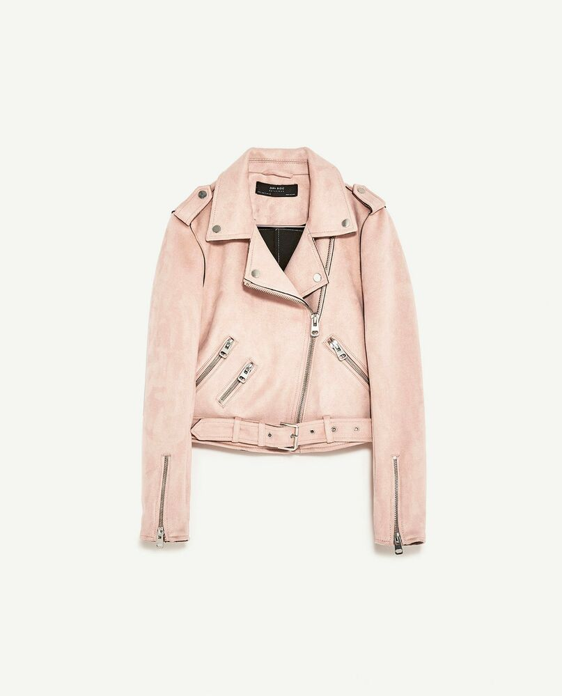 ca5cffe8 Details about ZARA NEW BIKER JACKET WITH ZIPS PINK SUEDE BLOGGER CROPPED  VINTAGE SIZE XS-XL