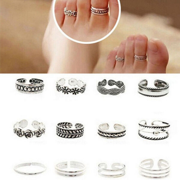 BOHO FESTIVAL BEACH HOLIDAY SET OF 12 TOE RINGS ADJUSTABLE TO FIT MOST UK SELLER