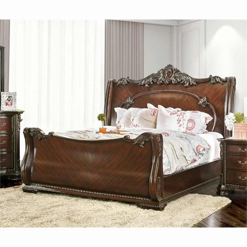 furniture of america helvetta queen sleigh bed in brown 14688 | s l1000