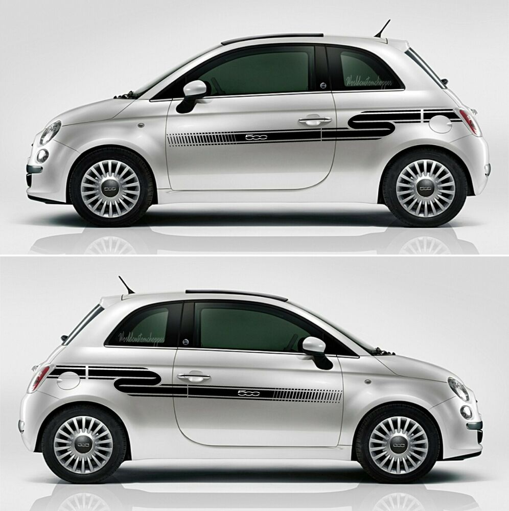 adh sifs decal autocollants bandes lat ral fiat 500 sport voiture tuning droite ebay. Black Bedroom Furniture Sets. Home Design Ideas