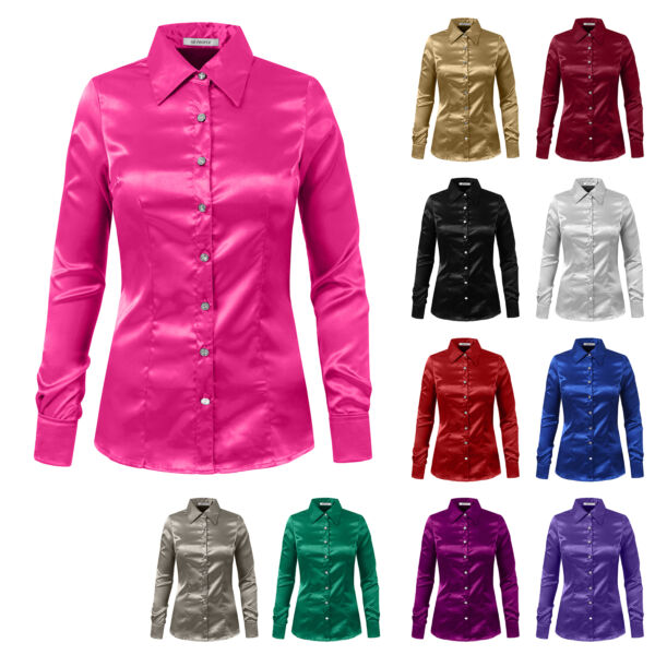NE PEOPLE Womens Long Sleeve Satin Blouse with Cuffs S-3XL [NEWT74]