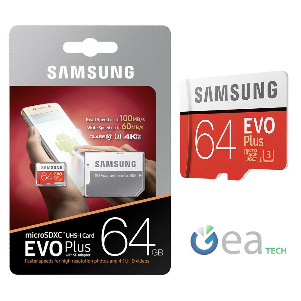 samsung microsd evo plus 64gb classe 10 sd adapter uhs i. Black Bedroom Furniture Sets. Home Design Ideas