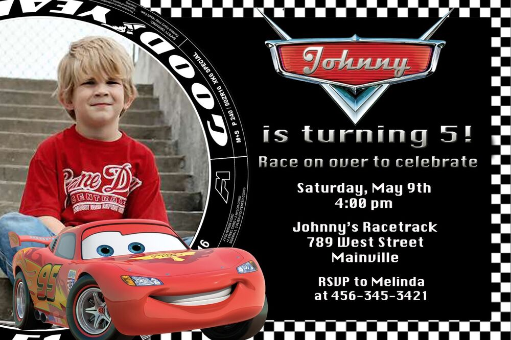 Details About Cars Lightning McQueen Birthday Party Invitation