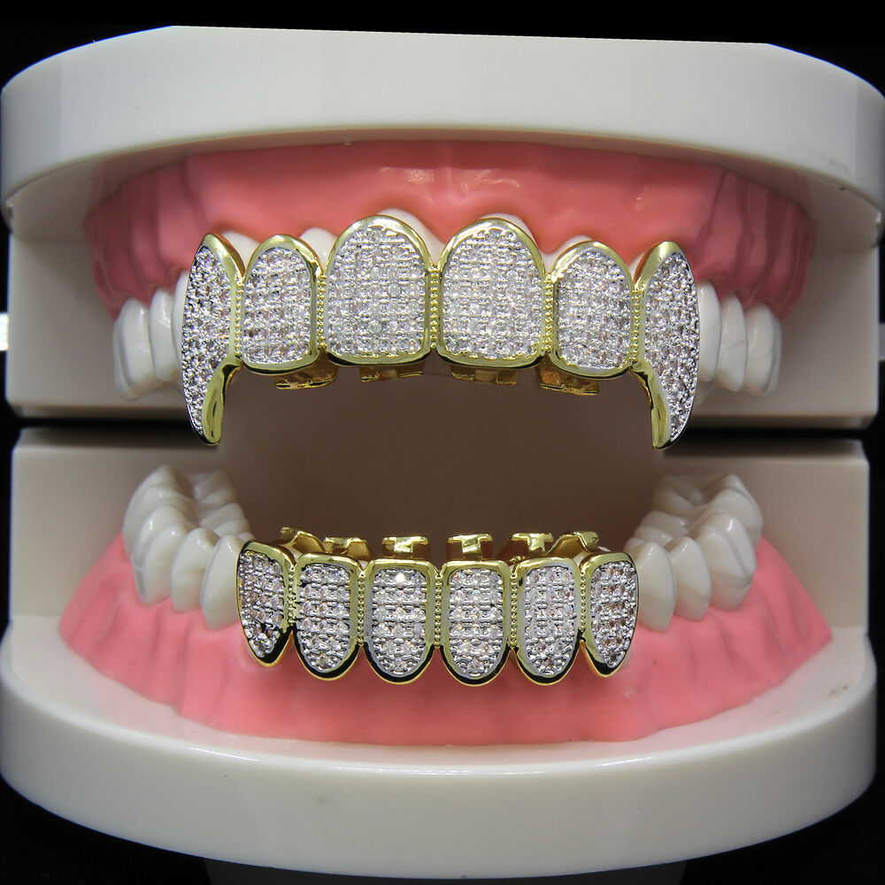 14k Gold Plated High Quality Cz Fang Top Amp Bottom Grillz