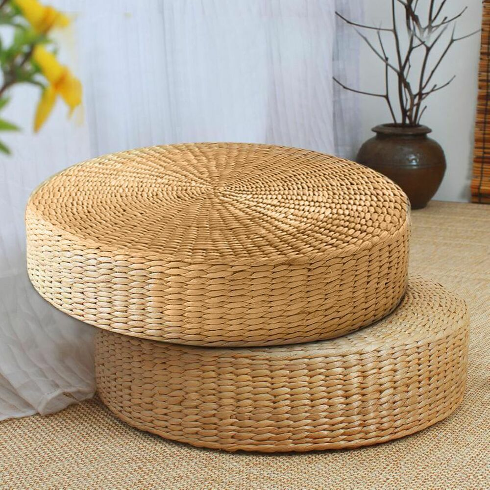40cm rond tatami coussin si ge de sol en paille matgrass m ditation yoga chaise ebay. Black Bedroom Furniture Sets. Home Design Ideas