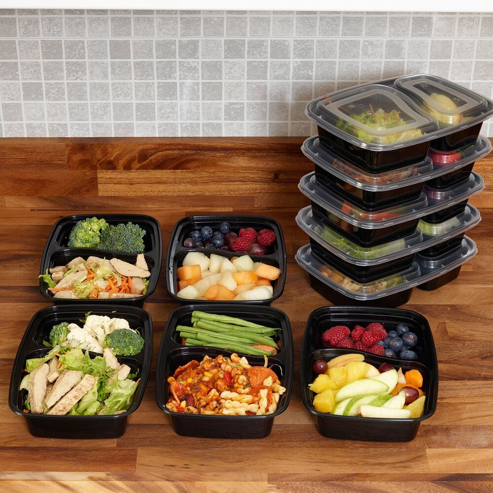 meal prep food containers bpa free plastic lunch box lids reusable microwavable ebay. Black Bedroom Furniture Sets. Home Design Ideas
