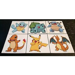 Pokemom Vinyl Decals Stickers 6 Pack High Quality Car Truck Multi Use Free Ship