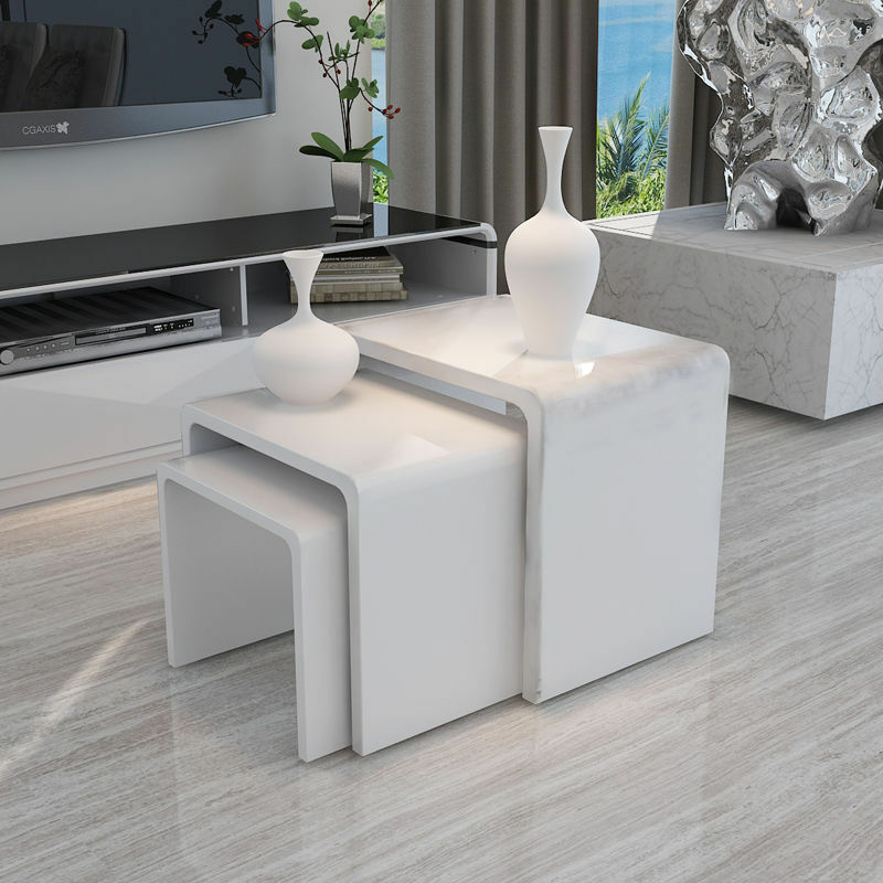 White Gloss Table: White Modern High Gloss Nest Of 3 Coffee Table Side End