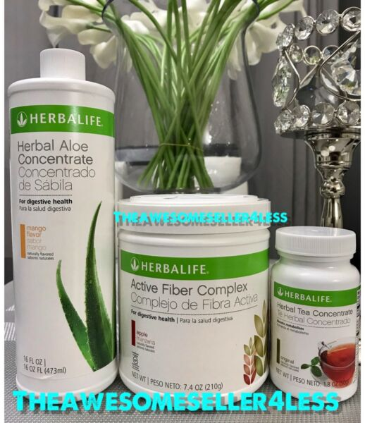 NEW HERBALIFE ALOE CONCENTRATE, TEA & ACTIVE FIBER FOR DIGESTIVE HEALTH