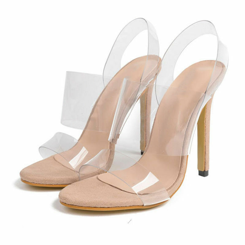 cb5e90ac991 12 cm Heels Women Transparent Clear High Heel Shoes Jelly Sandals Shoes