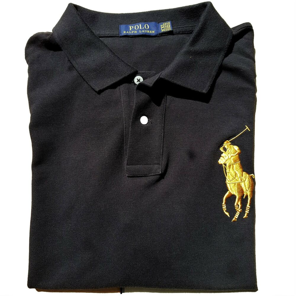 *NEW W/TAGS - POLO Ralph Lauren Big GOLD Pony Men\u0027s Polo Shirt - BLACK : S  - 2XL | eBay