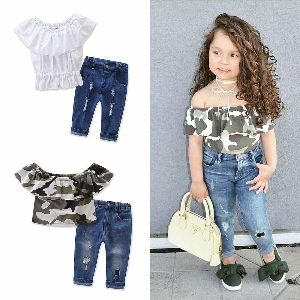f05f082a8f84 2PCS Toddler Kids Baby Girls Clothes T-shirt Tops+Denim Pants Jeans ...