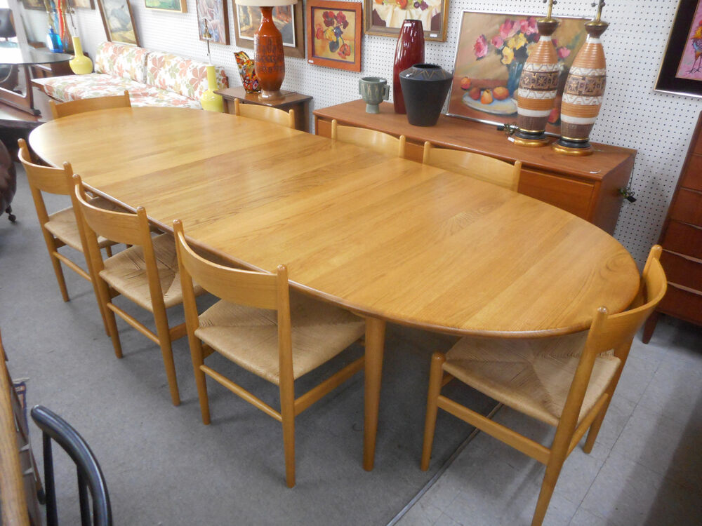 Hans Wegner Carl Hansen Danish Oak Mid Century Oval Dining Table W/8 CH36  Chairs