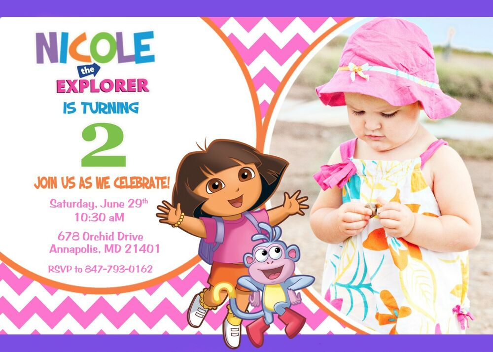 Details About Dora The Explorer Birthday Party Invitation