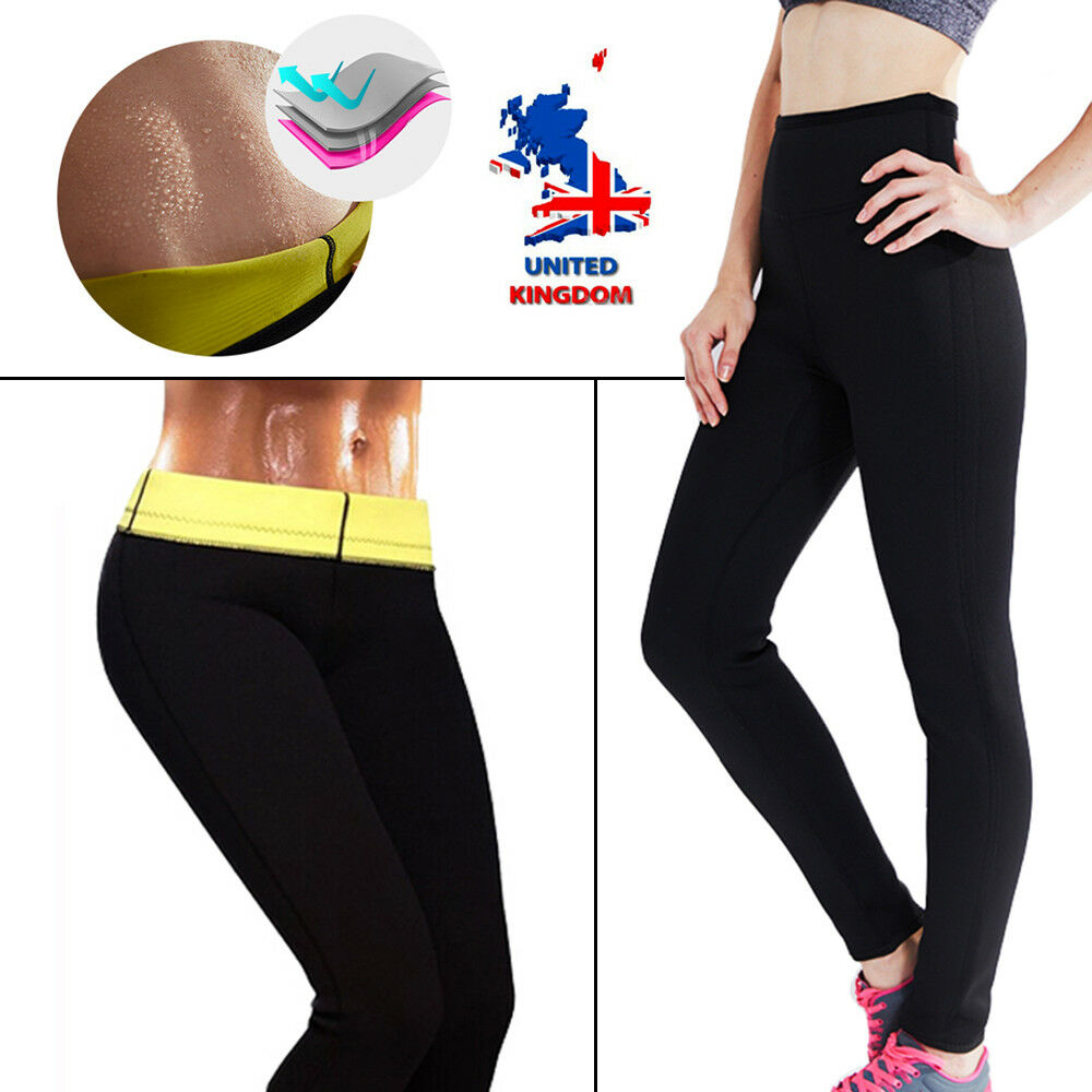 f1501a9009 Details about Thermo Sweat Hot Neoprene Body Shaper Long Pants Slim Legging  Yoga Trousers UK A