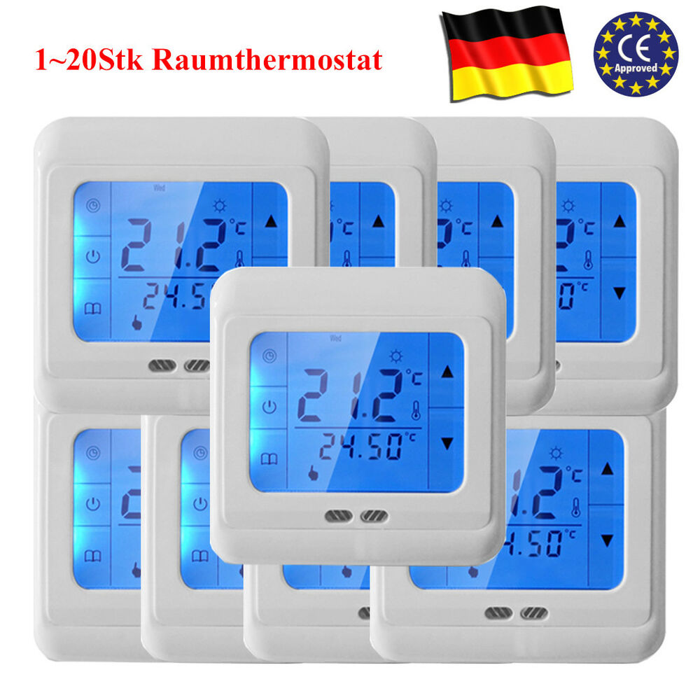 1 20stk raumregler fu bodenheizung thermostat raumthermostat lcd digital 16a de ebay. Black Bedroom Furniture Sets. Home Design Ideas