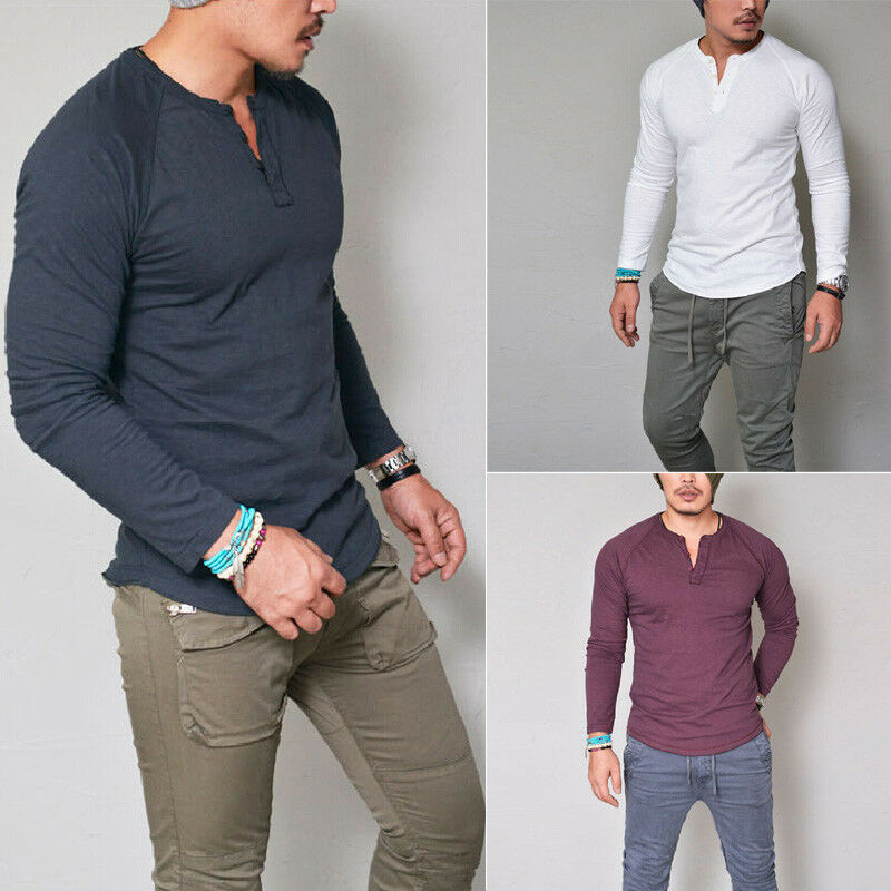 b64cc42ceac04 Details about Fashion Men s Slim Fit V Neck Long Sleeve Muscle Tee T-shirt  Casual Tops Blouse