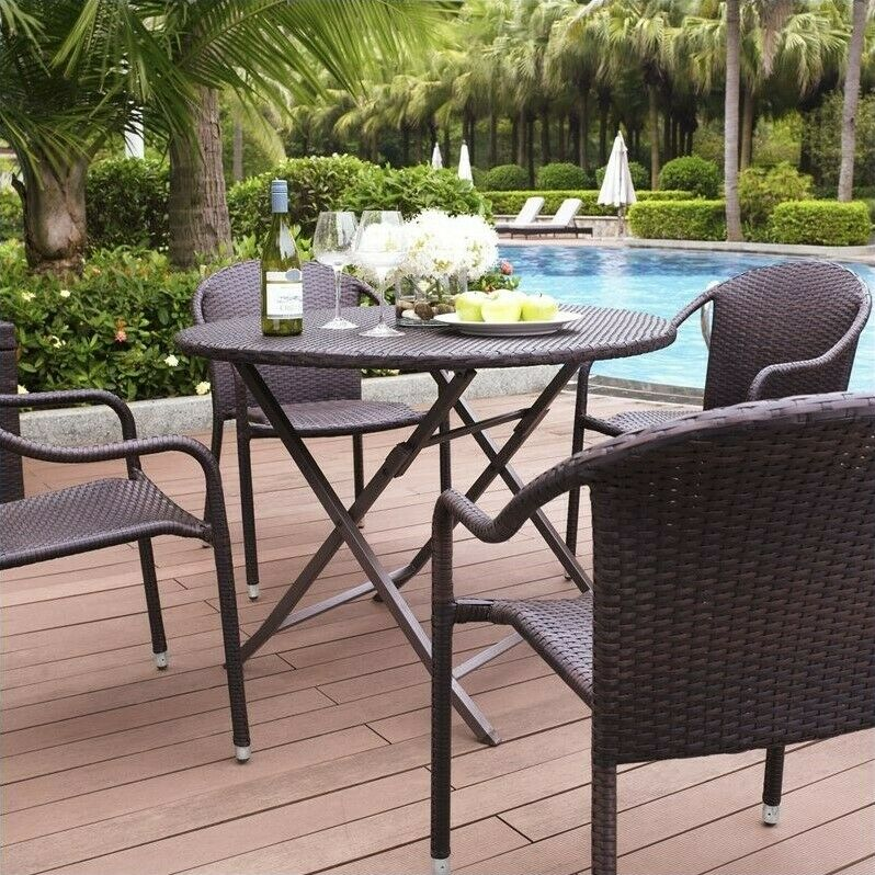 Details about Crosley Furniture Palm Harbor 5 Piece Wicker Patio Dining Set & Crosley Furniture Palm Harbor 5 Piece Wicker Patio Dining Set ...