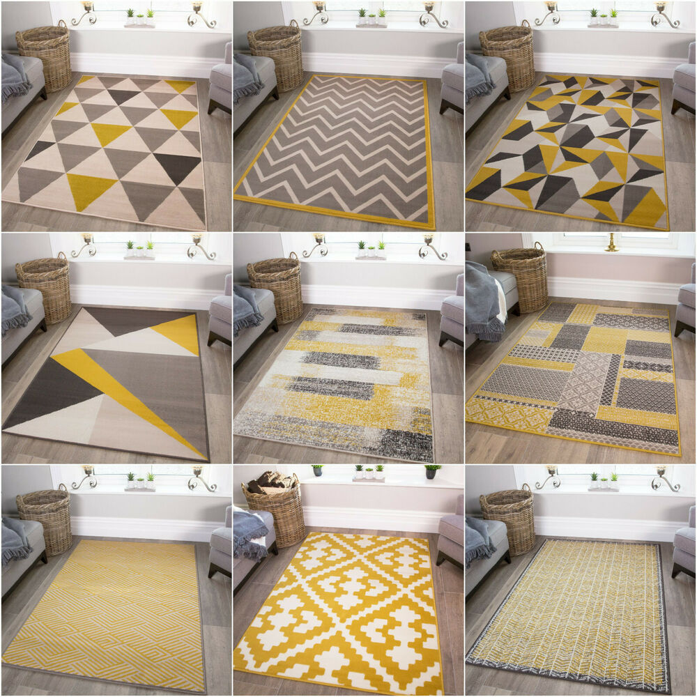 yellow mustard grey geometric rug ochre nordic chevron zigzag living room rugs ebay. Black Bedroom Furniture Sets. Home Design Ideas