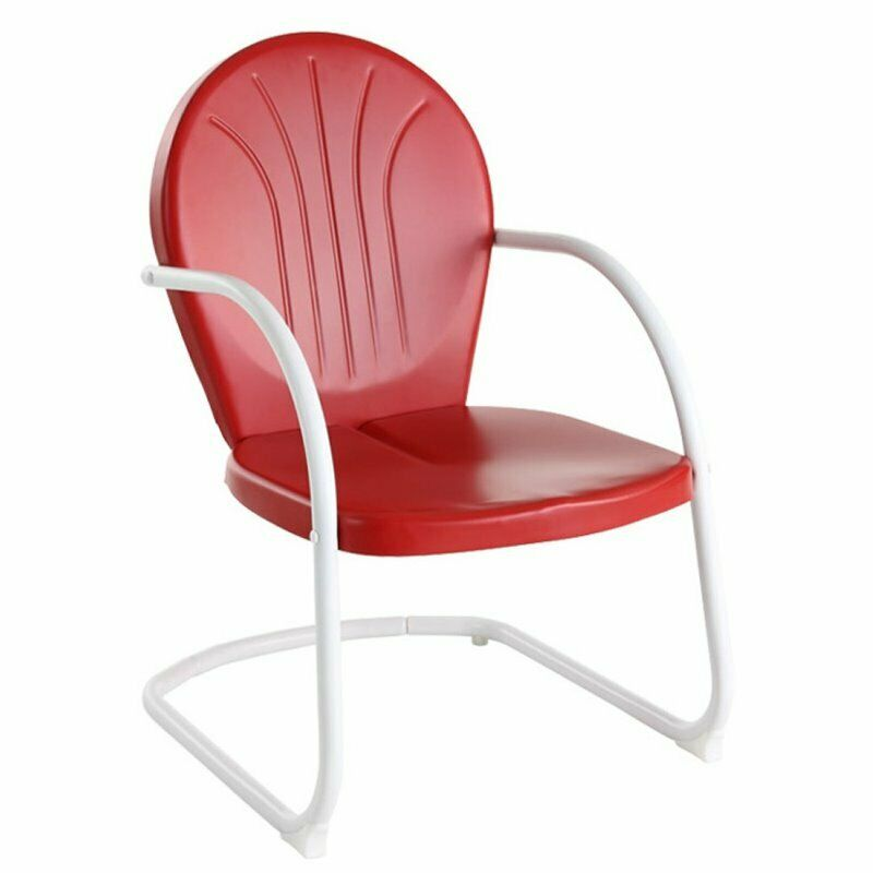 crosley griffith metal chair in red ebay