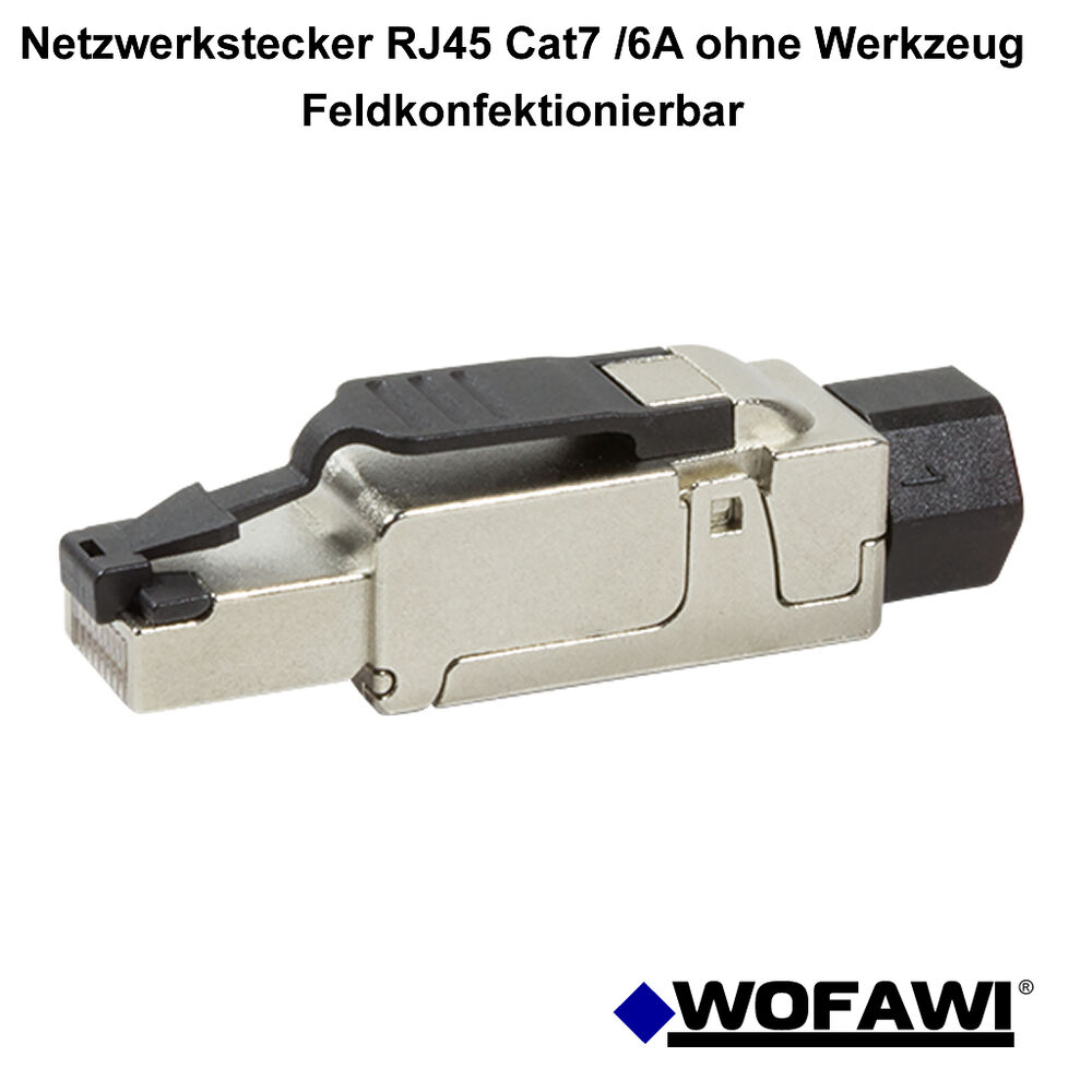 wofawi netzwerk stecker rj45 cat 6a 7 feldkonfektionierbar ohne werkzeug ebay. Black Bedroom Furniture Sets. Home Design Ideas