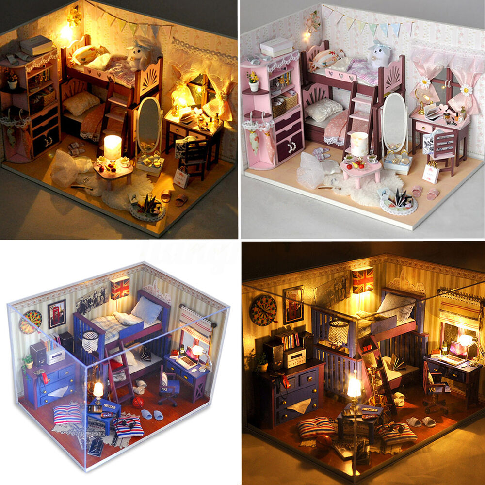 kit diy dollhouse maison poup e bois miniature led lumi re. Black Bedroom Furniture Sets. Home Design Ideas