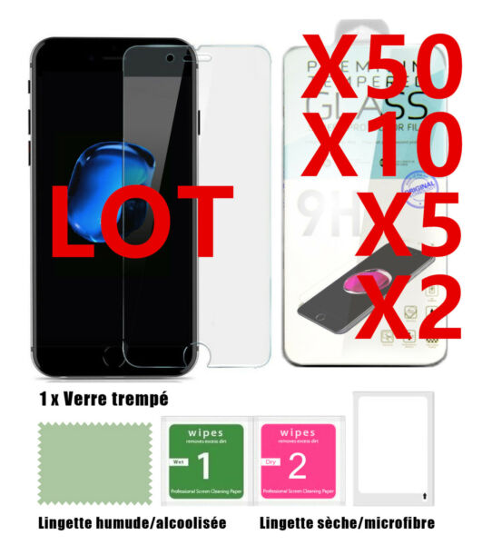 Lot iPhone XR/X/XS/MAX/8/7/6/6S/SE/5 Film protection écran vitre verre trempé 9H