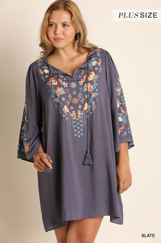 fe05d2f97b36 Details about Umgee floral embroidered long bell sleeve Boho Dress tunic  plus XL 1X 2X