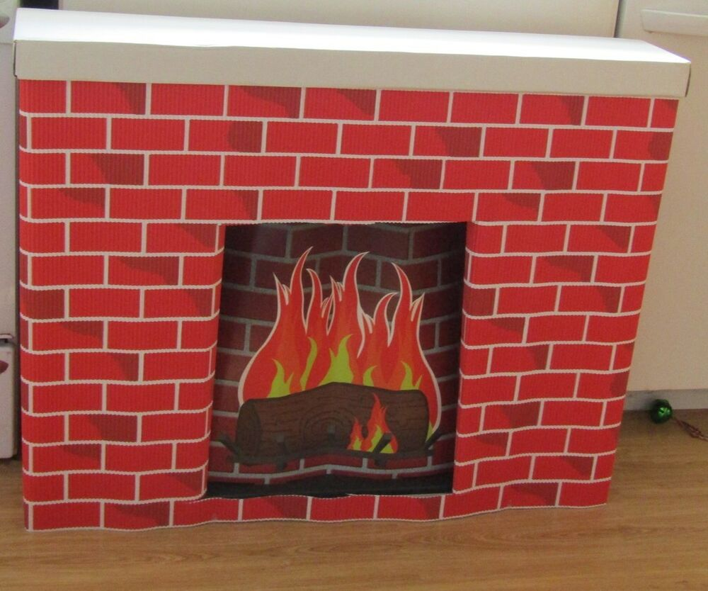 New Bemiss-Jason COROBUFF Cardboard Christmas HOLIDAY FIREPLACE & YULE LOG Set | Home & Garden