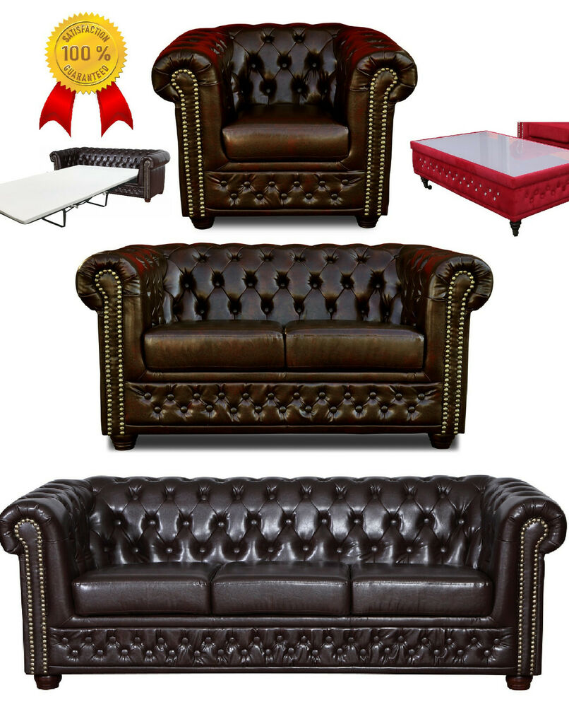 chesterfield sofa 3 2er sitzer sessel couch garnitur dunkelbraun leder look ebay. Black Bedroom Furniture Sets. Home Design Ideas